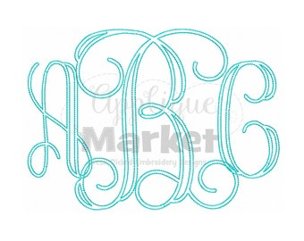 Machine Embroidery Design Applique Vine Bean Stitch Monogram Alphabet INSTANT DOWNLOAD