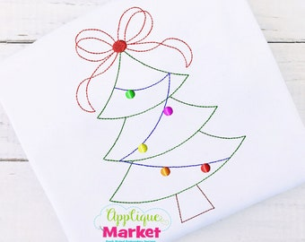 Machine Embroidery Design Applique Tree Bow Vintage INSTANT DOWNLOAD