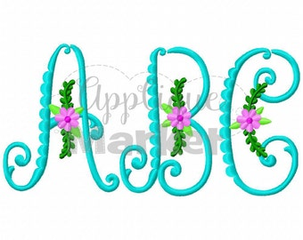 Machine Embroidery Design Embroidery Vintage Flower Monogram INSTANT DOWNLOAD