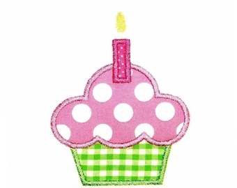 Machine Embroidery Design Cupcake Applique With and Without Candle INSTANT DOWNLOAD