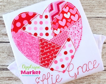 Machine Embroidery Design Applique Patchwork Heart INSTANT DOWNLOAD