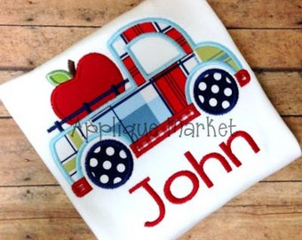 Machine Embroidery Design Applique Truck 2 with Apple INSTANT DOWNLOAD