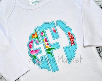 Machine Embroidery Design Scallop Circle Applique Monogram Font INSTANT DOWNLOAD