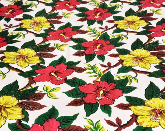 Tropical with a Twist//  Stylized Hibiscus Design// Fab 40s Mid Century Floral Fabric// Acetate Yardage// Reclaimed and Upcycled Drapery