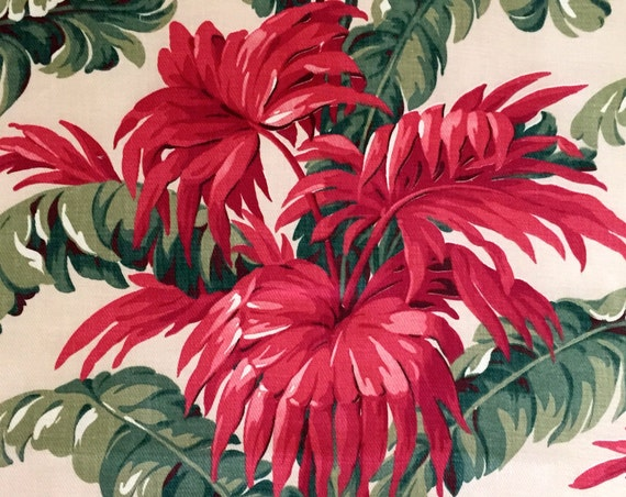 """Spectacular Vintage 40s Banana Leaf Floral Barkcloth/  Hollywood Regency Fabric/  Cotton Remnant for Upholstery and Home Decor/ 36""""x44"""""""