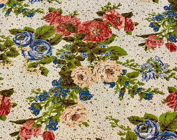 Striking 40s Hollywood Glam Floral Broadcloth Fabric/ Cotton Yardage for Upholstery and Home Decor/ BTY 5 Yards