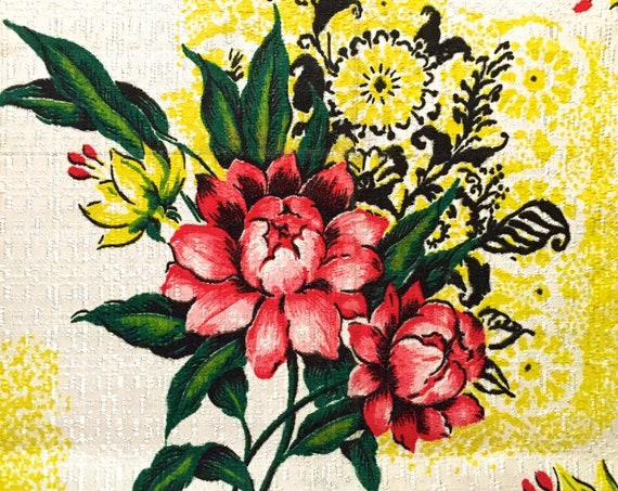 """Striking Mid 40s Hollywood Glam Floral Barkcloth Fabric/ Acetate Yardage for Home Decor and Upholstery 42""""x 91"""""""