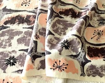 50s Atomic Mid Mod Barkcloth Fabric// Waverly Carlsbad Design// Cotton Yardage// Light Upholstery-Drapery?/ Home Decor// Apparel// 2 Panels