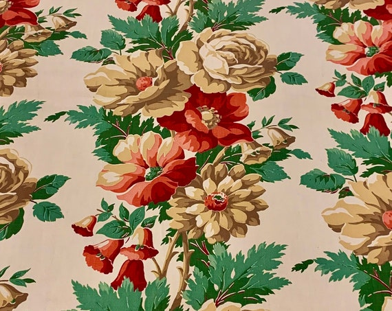 Spectacular Vintage 30s Floral Barkcloth Fabric/ Hollywood Glam Cotton Yardage for Upholstery and Home Decor  BTY 5 Yards