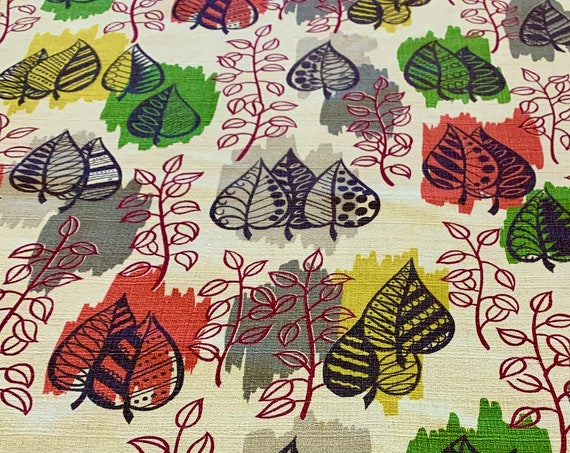 Vintage 1950s MCM Leaf Motif Barkcloth Fabric/ Eames Era Leaves with Attitude for Upholstery and Home Decor/ 2.75 Yards