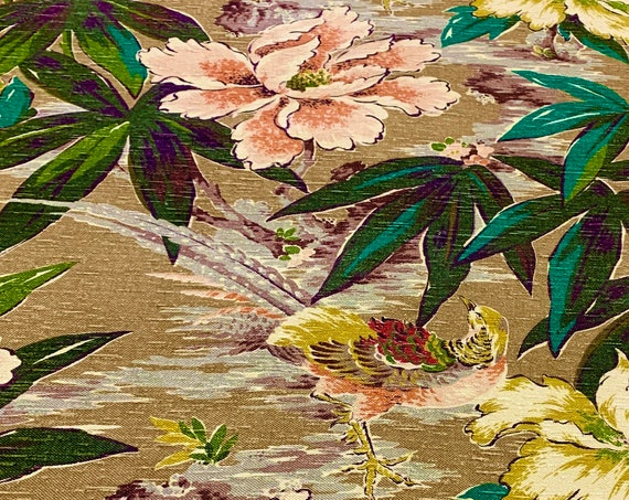 Fab 1940s Tropical Floral Barkcloth Fabric with an Asian Flair/ Cotton Yardage for Upholstery and Home Decor/ 4 Panels Available