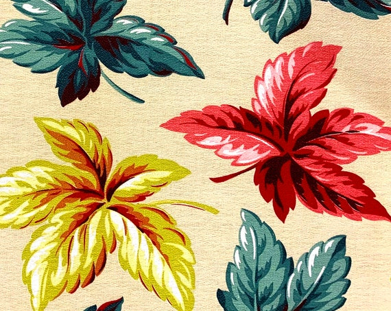 Fab MCM Falling Leaves Barkcloth Fabric// Hollywood Glam Cotton Yardage for Upholstery and Home Decor/BTY 10 Yards