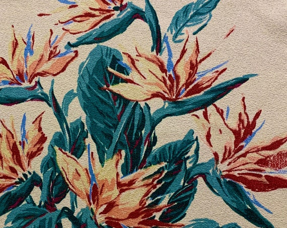 """Dazzling 50s Bird of Paradise Barkcloth Fabric with a Hollywood Glam meets Shabby Chic Vibe/ Upholstery and Home Decor/ 45""""W x 73""""L"""