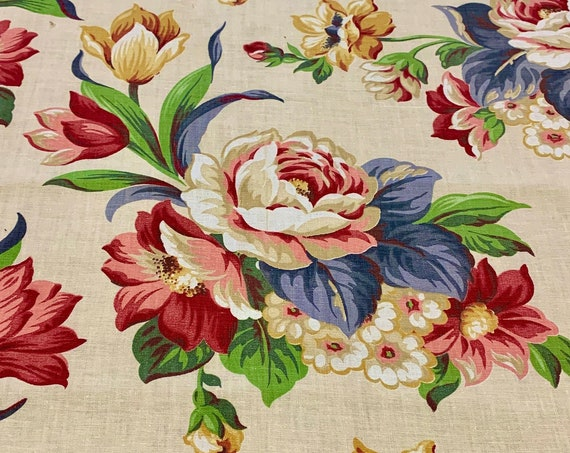 """Phenomenal 40s Hollywood Glam Summer Blooms Floral Fabric/ Cotton Yardage for Upholstery and Home Decor/ 46"""" x 2 Yards"""