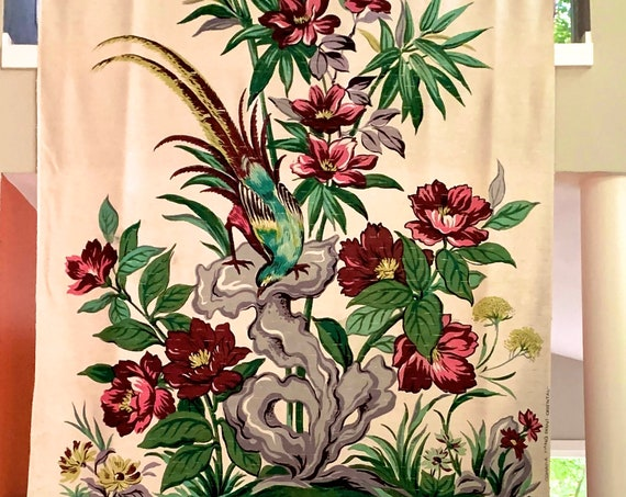 """Vintage 50s Barkcloth Fabric/ Hand Printed Asian Inspired Pheasant and Flowers/ Fabric Wall Art 49"""" x 85"""""""