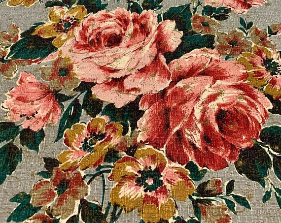"""Stunning 40s Barkcloth Fabric with Hollywood Glam Romantic Roses/ Cotton Yardage for Upholstery and Home Decor/ 47""""W x 99""""L"""
