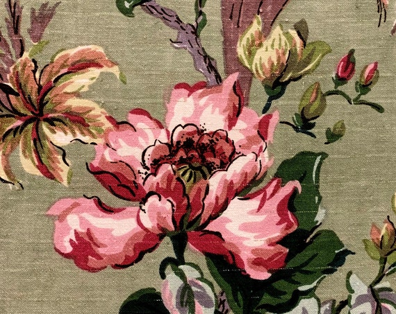 Stunning Asian Inspired Floral Barkcloth Fabric/ Cohama Hand Printed Cotton Yardage for Upholstery/Drapery/Home Decor/ BTY 6 Yards Available