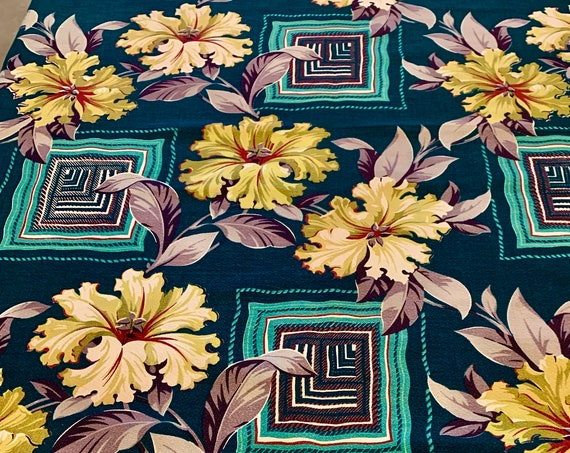 """Fab 40s Hibiscus and Foliage Barkcloth Fabric with an MCM Geometric Vibe/ Cotton Yardage for Upholstery and Home Decor/ 46""""W x 106""""L"""