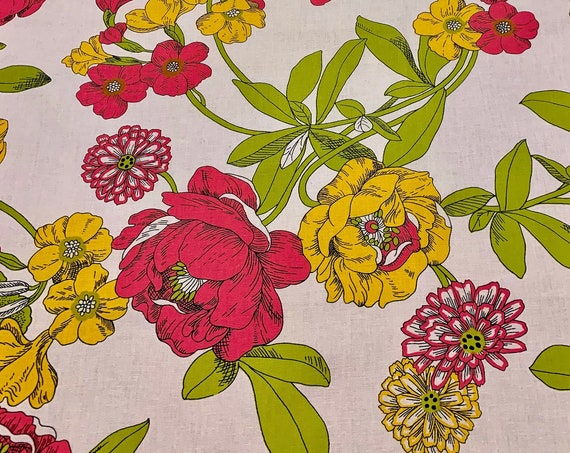 Feelin Groovy Flower Power 60s Broadcloth Fabric// Retro Hippie Chic Cotton Yardage for Upholstery and Home Decor/ BTY 11 Yards