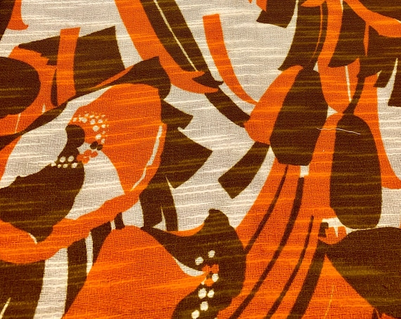 Hot 70s Fabric with an Abstract Floral Design and a  MCM Vibe/ Acrylic Yardage for Home Decor/ BTY 5 Yards
