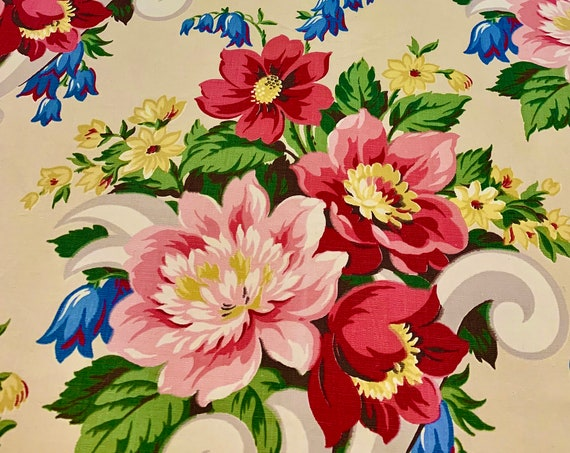 Fab 40s Garden Party Floral Broadcloth Fabric/ Cotton Yardage for Upholstery and Home Decor/ BTY 5 Yards