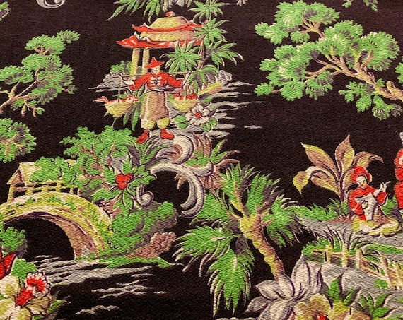 Beautiful 1950s Asian Inspired Barkcloth Fabric for Upholstery and Home Decor/ 4 Panels Available