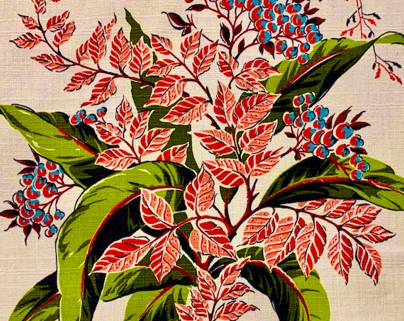 Holly Berries and Foliage 40s Barkcloth Fabric/ Hollywood Glam Cotton Yardage for Upholstery and Home Decor/ BTY 5 Yards