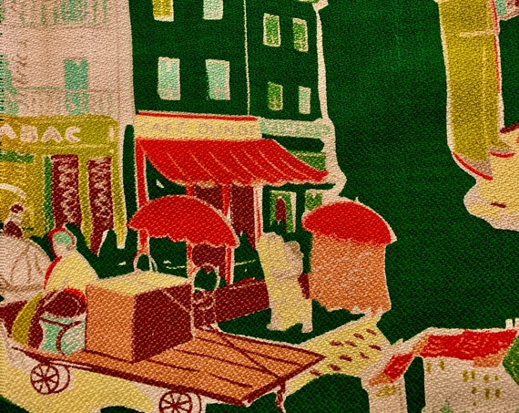 """Fab 50s French Barkcloth Fabric/ Adorable Fishing Village on the Med/ Cotton Yardage for Upholstery and Home Decor/ 24"""" x 64"""""""