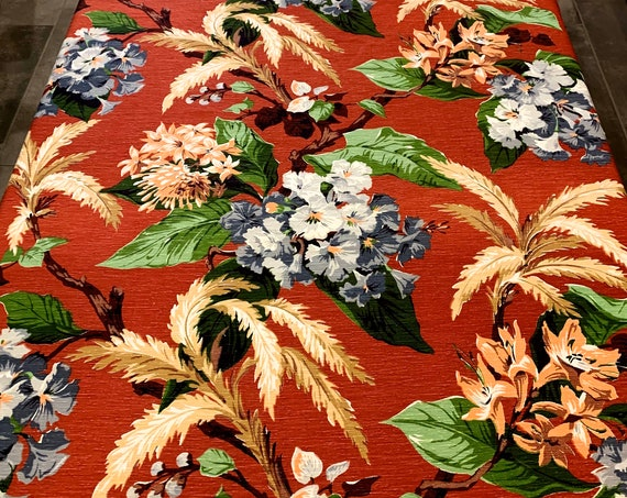 Spectacular 40s Miami Bungalow Tropical Barkcloth Fabric/ Hollywood Glam Cotton Yardage for Upholstery and Home Decor/ 10 Yds Available