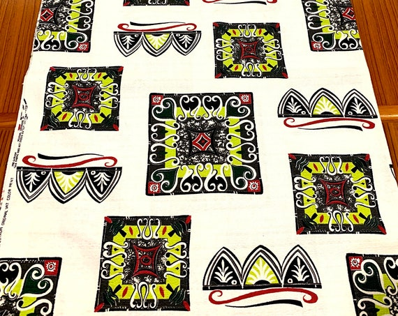 50s Mid Century Mod Atomic Tiki Fabric/ Eames Era Abstract Design/ Cotton Yardage/ Upholstery/ Home Decor /Never Used Vintage 3 YDS Aval.