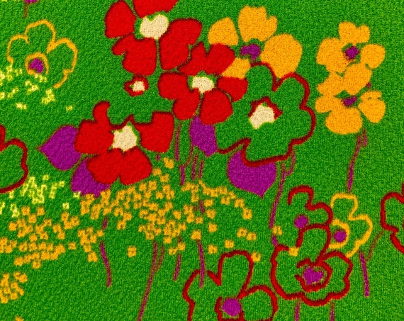 60s Hippie Chic Polyester Floral Fabric/ Daisy Flower Power for Upholstery, Home Decor and Apparel/ 3 Yards Available
