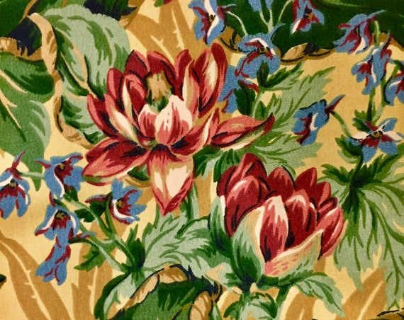 """Fab 80s Floral Fabric with a Hollywood Glam Vibe /Retro  Cotton Yardage for Upholstery and Home Decor 56"""" x 87"""""""