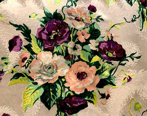 Beautiful Bouquets Vintage 1930s Acetate Satin Fabric/ Hollywood Glam Floral Yardage for Home Decor and Upholstery/ 8 Panels