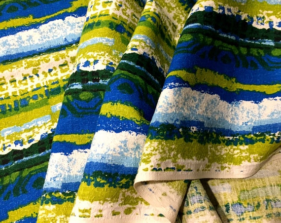 """Mad Mod Psychedelic 60s Vintage Barkcloth/ Cotton Remnant for Upholstery and Home Decor/ 23""""W x 60""""L"""