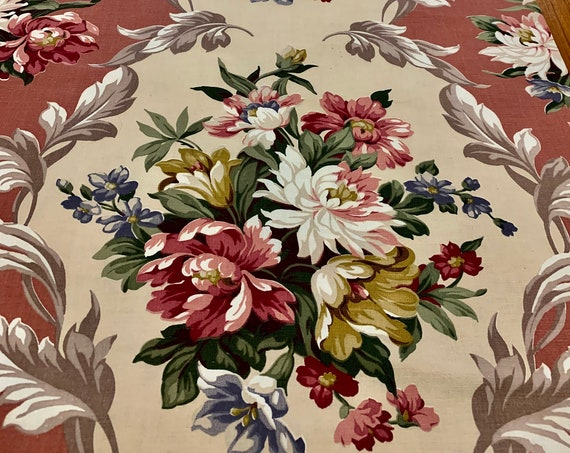 Fab 30s Neoclassic Design Floral Broadcloth Fabric/ Beautiful Blooms and Acanthus Leaf Scroll for Upholstery and Home Decor 7 Yds Available