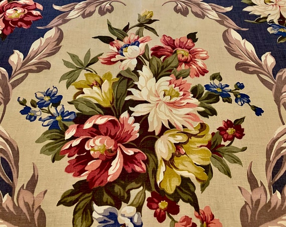 """Fab 30s Neoclassic Design Floral Broadcloth Fabric/ Beautiful Blooms and Acanthus Leaf Scroll for Upholstery and Home Decor/ 48"""" x 54"""""""