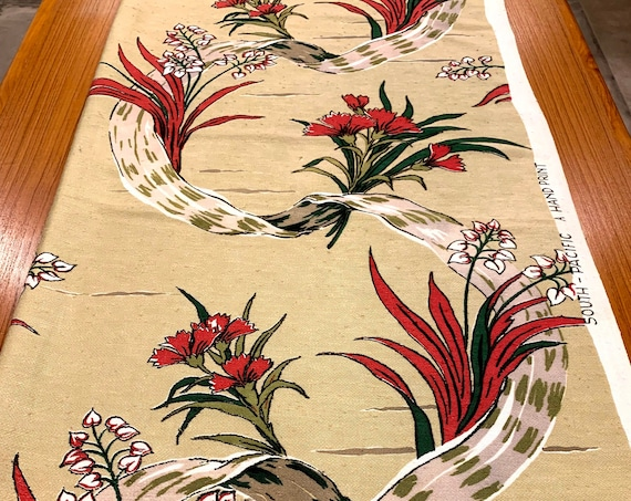 Amazing Woodland Floral 50s Barkcloth Fabric/ Cotton Yardage for Upholstery and  Home Decor/ 2 Panels