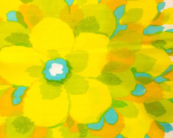 Mod 60s Flower Power Fabric with Sunny Yellow Hippie Chic Flowers for Upholstery and Home Decor// New Old Stock// BTY 6 Yards
