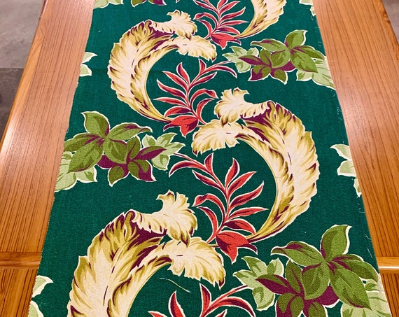 """Spectacular 30s Miami Bungalow Chic Tropical Barkcloth Fabric/ Hollywood Regency Era Cotton for Upholstery and Home Decor/ 22"""" x 72"""""""