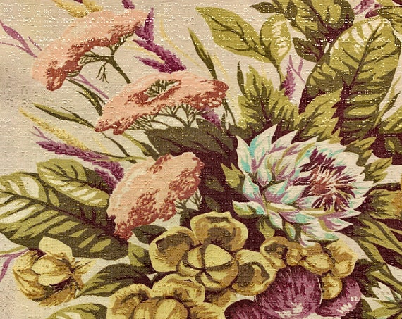 """Autumn Blooms 1940s Barkcloth Fabric Yardage for Upholstery and Home Decor/ 2 Panels-48"""" x 59"""""""