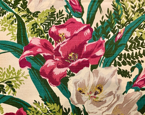 Dazzling Hollywood Glam Floral Barkcloth/ Riverdale Persian Garden// Pillow Size Cotton Remnant for  Home Decor/ 3 Panels Available