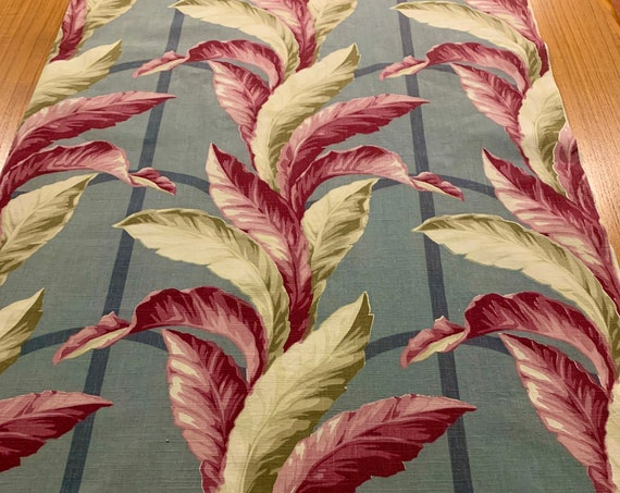 Brilliant 1940s Tropical Barkcloth with an Old Miami Vibe/ Cotton Yardage for Upholstery and Home Decor/3 Yards Available