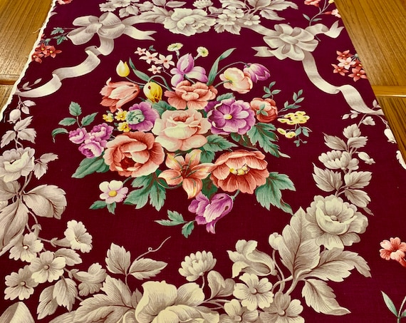 """Stunning 1930s Hollywood Regency Floral Broadcloth Fabric/ Cotton Yardage for Upholstery and Home Decor/ 48"""" x 54"""""""