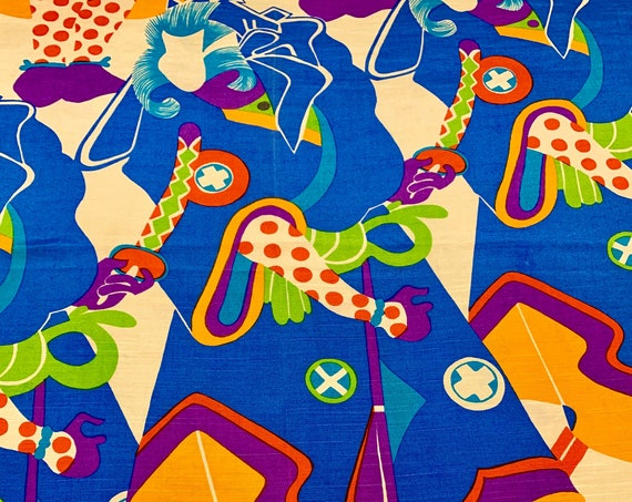 Fun 80s Psychedelic Silk Fabric/ Samurai Swordsman Meets Court Jester/ Apparel/ Wall Art/ Home Decor/ BTY 3 Yards Available