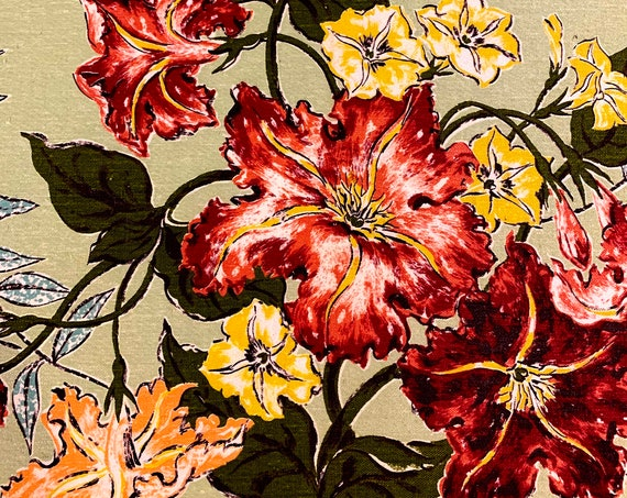 Marvelous Hollywood Glam 40s Floral Cotton Barkcloth Fabric/ Perfect for Upholstery and Home Decor/ BTY 8 Yards