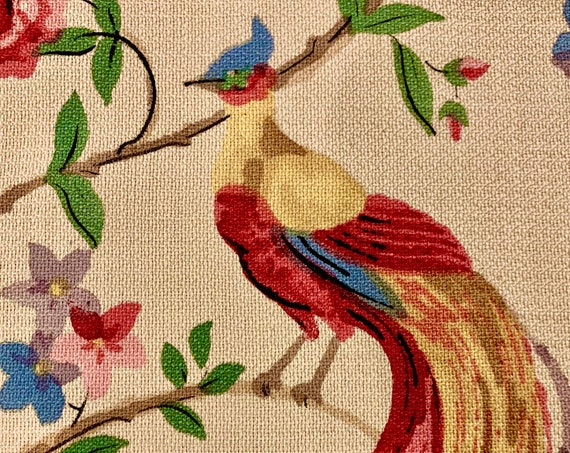 Stunning 40s Birds Blooms and Butterflies Barkcloth Fabric/ Asian Inspired Yardage for Upholstery and Home Decor/ 4 Yards Available