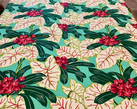 Fab 50s Stylized Hawaiian Fabric/ Cotton Yardage for Home Decor and Apparel with a Tropical Vibe/ BTY 4 Yards