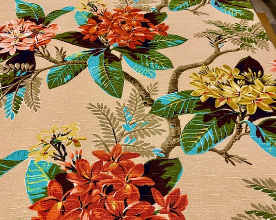 A Kaleidoscope of Colorful Flowers 40s Barkcloth Fabric/ Stunning Tropical Hawaiian Fabric/ Cotton Remnants for Upholstery and Home Decor