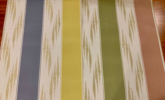 Cool 70s Reversible Striped Upholstery Fabric for Home Decor/ BTY 15 Yards