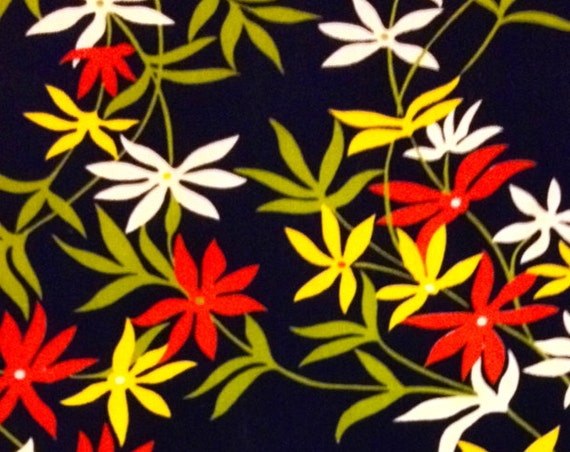 """Fab 60s Broadcloth Fabric/ Flower Power Daisy Explosion/ Cotton Yardage for Home Decor 45"""" x 94"""""""